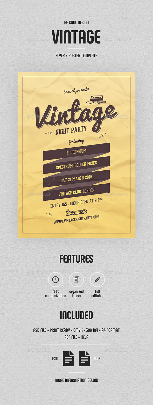 Vintage Night Party Flyer/Poster - Clubs & Parties Events