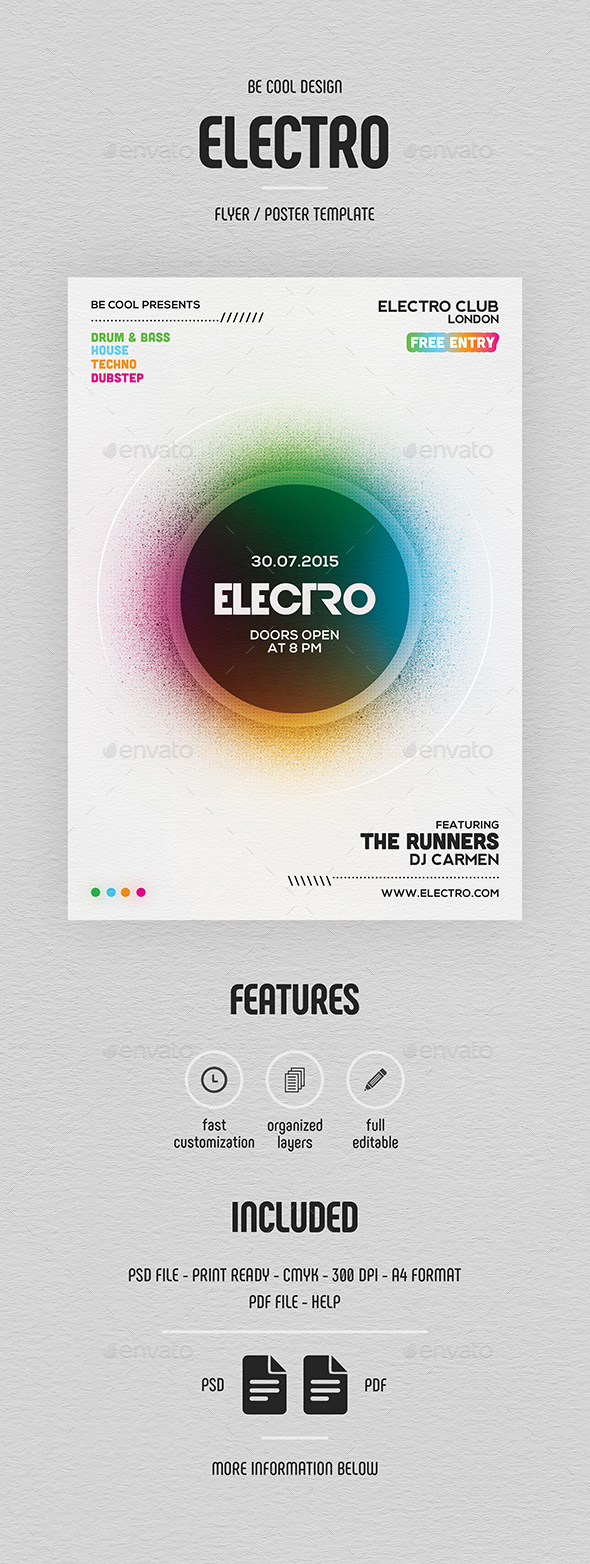 Electro Flyer/Poster - Clubs & Parties Events