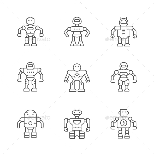 Set Line Icons of Robot - Man-made objects Objects