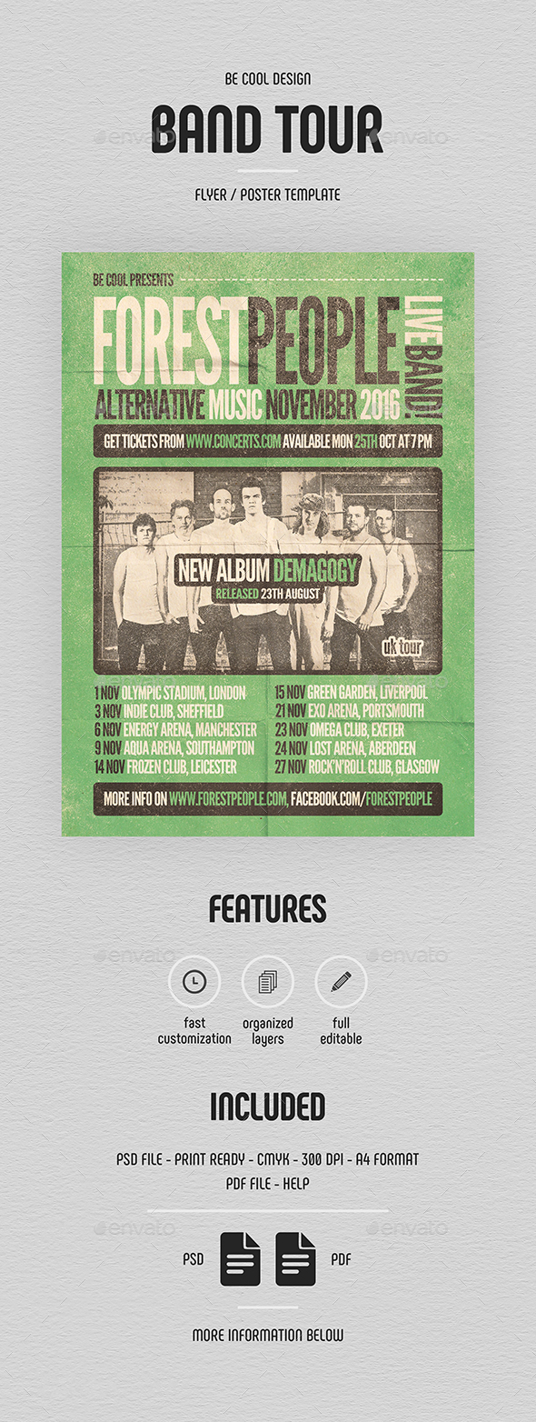 Band Tour Flyer/Poster - Concerts Events