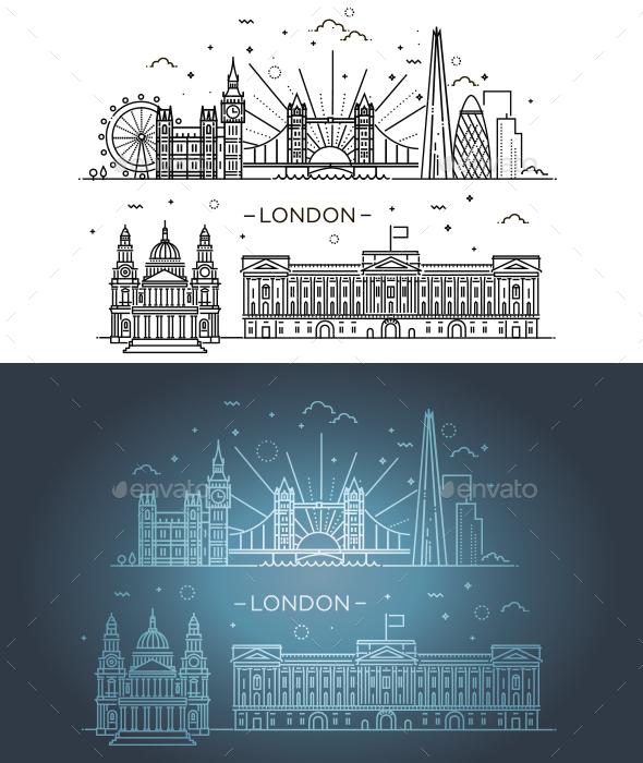 Linear Banner of London - Buildings Objects