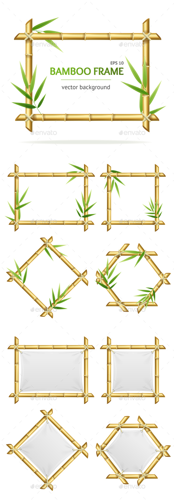 Bamboo Shoots Frames Set - Borders Decorative