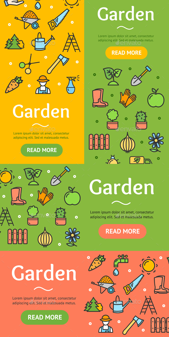 Gardening Banner Set - Flowers & Plants Nature