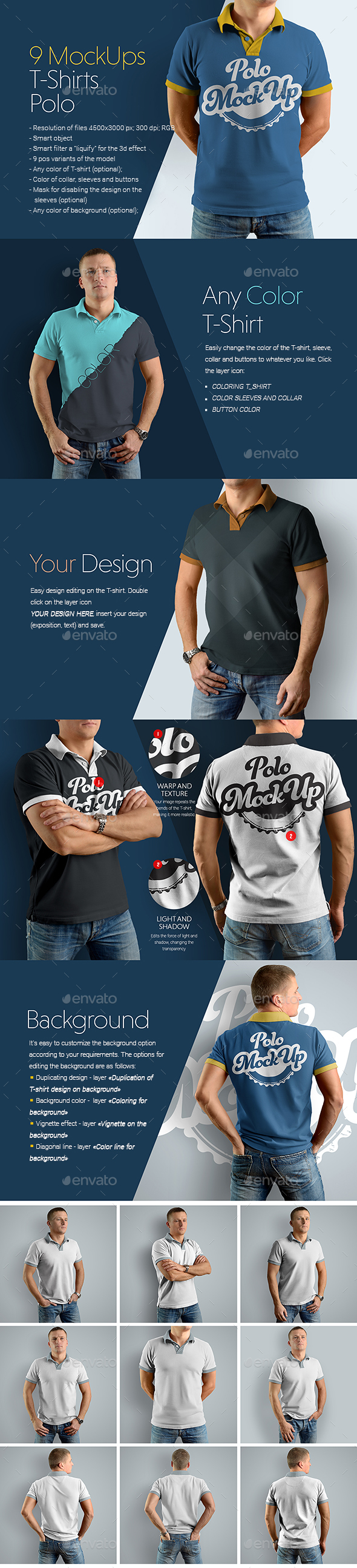 9 Mockups Polo T-Shirts on the Man - T-shirts Apparel