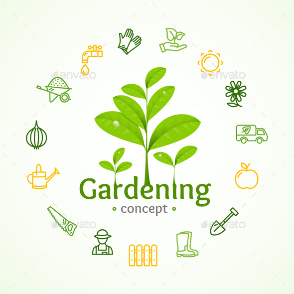 Gardening Sign Round Design Template Line Icon Concept - Flowers & Plants Nature