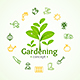 Gardening Sign Round Design Template Line Icon Concept