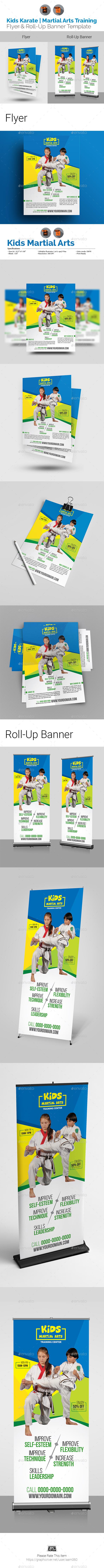 Kids Karate | Martial Arts Training Flyer & Roll Up Bundle - Print Templates