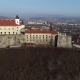 Beautiful Panoramic Aerial View To Palanok Castle at Sunset and the City of Mukachevo - VideoHive Item for Sale