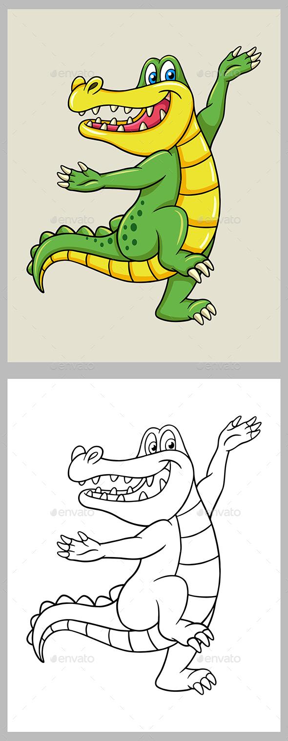 Crocodile Cartoon Coloring Page - Animals Characters