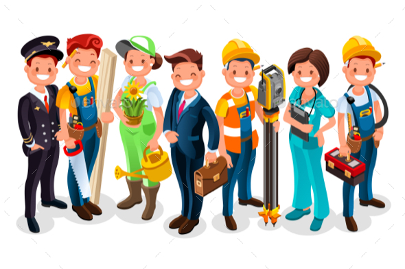 Labor Day Cartoon Characters - Vectors
