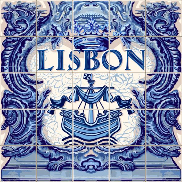 Lisbon Ceramic Tile Vector Lisboa Souvenir - Vectors