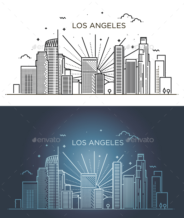 Linear banner of Los Angeles - Backgrounds Decorative