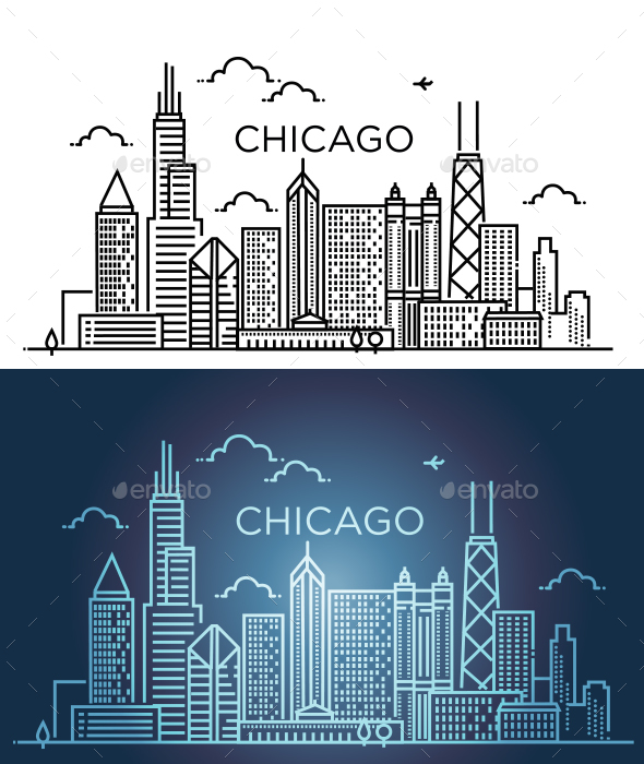 Linear Banner of Chicago City. Line art. - Buildings Objects