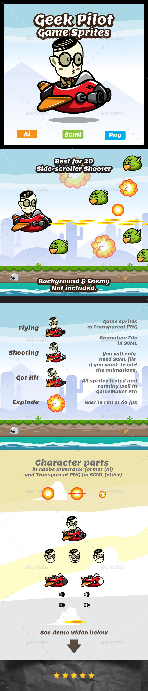Geek Pilot Game Asset - Aircraft Game Character Sprites - Sprites Game Assets