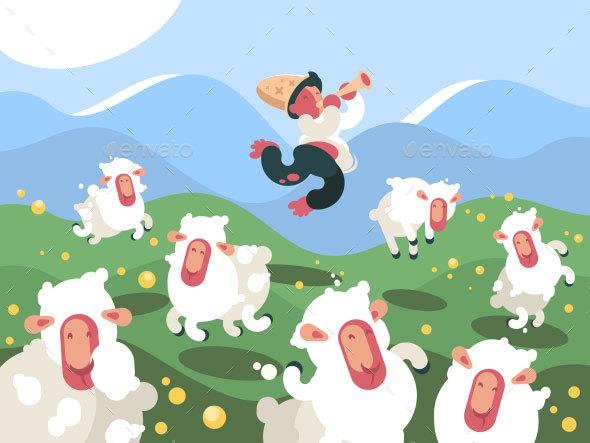 Shepherd Grazes Herd of Sheep - People Characters