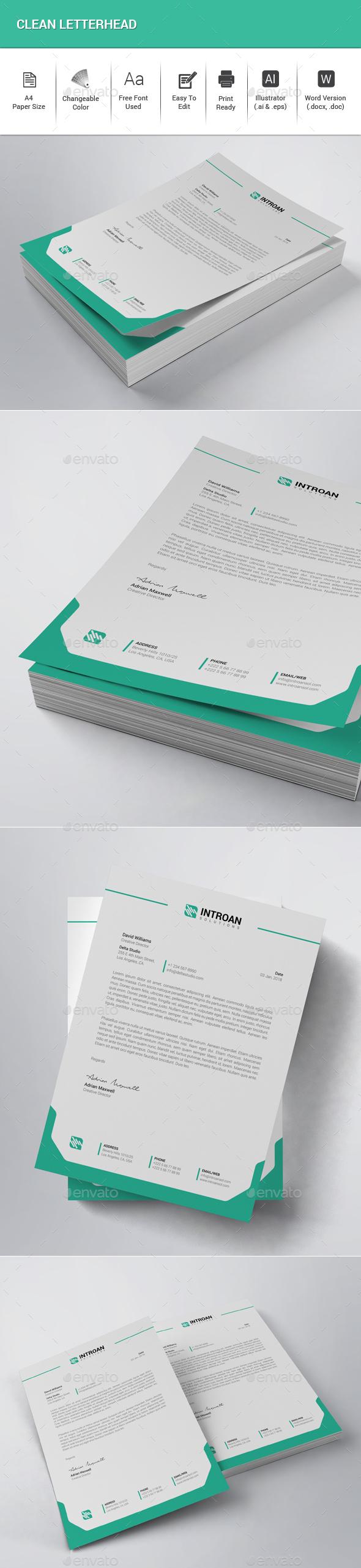 Clean Letterhead - Stationery Print Templates