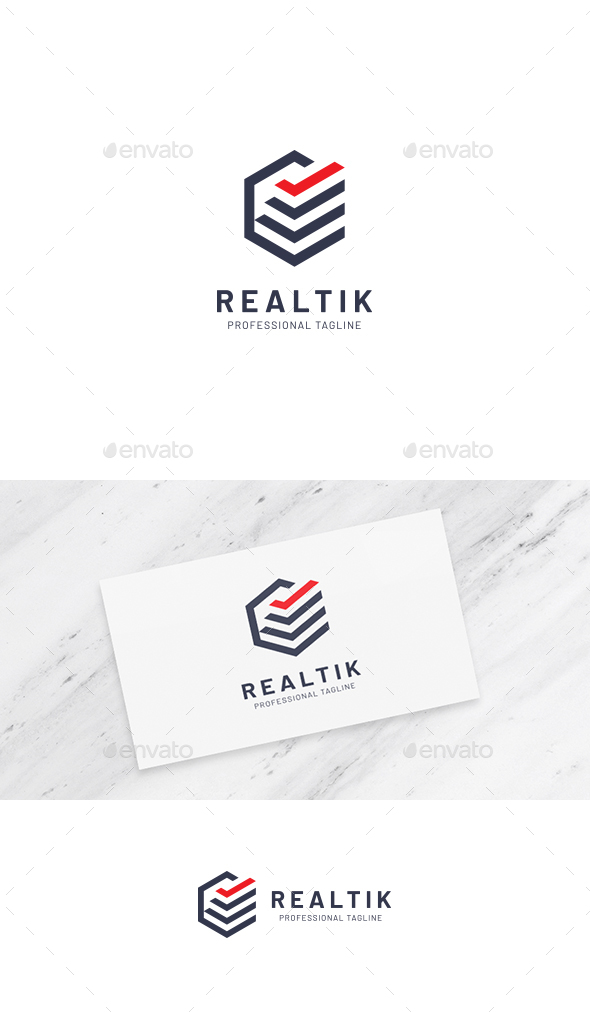 Realty Check Hexagon Logo - Buildings Logo Templates