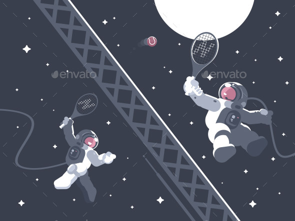 Astronauts Playing Tennis in Outer Space - People Characters