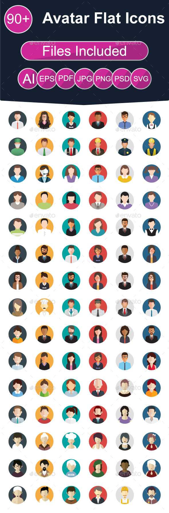 90+ Avatar Flat Icons - People Characters
