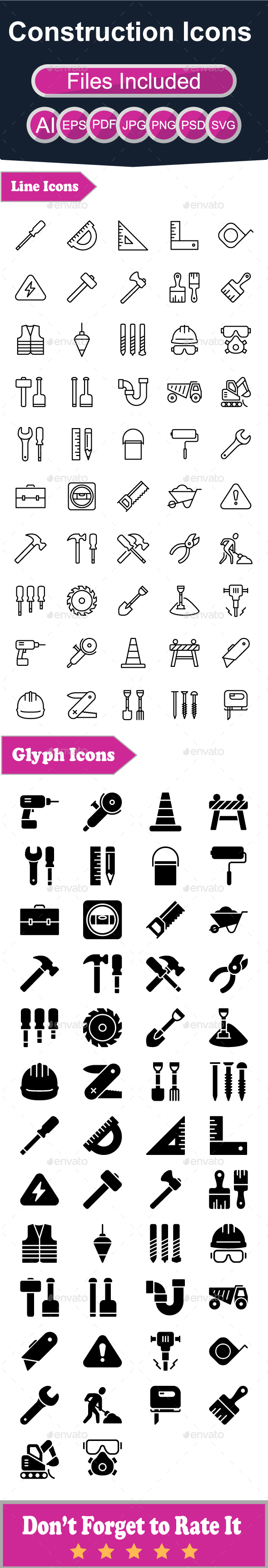 Constructions Icons - Buildings Objects