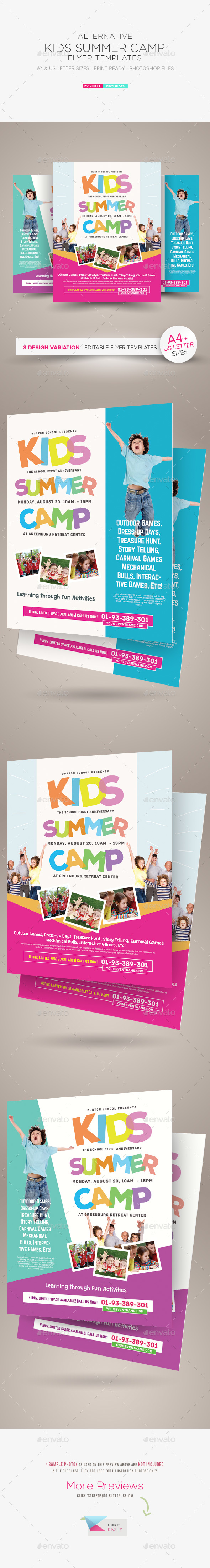 kids summer camp flyer templates holidays events