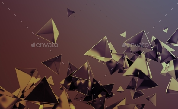 Abstract 3D Rendering of Flying Polygonal Shapes - Backgrounds Graphics