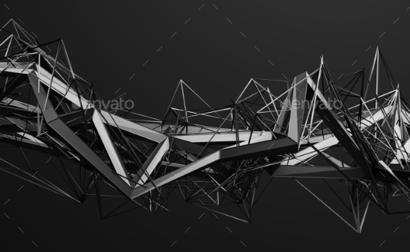 Abstract 3D Rendering of Polygonal Shape. - Backgrounds Graphics