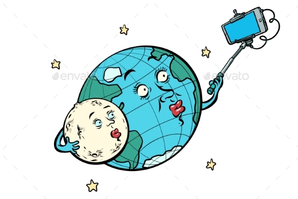 Planet Earth and Moon Couple Taking Selfie - Technology Conceptual