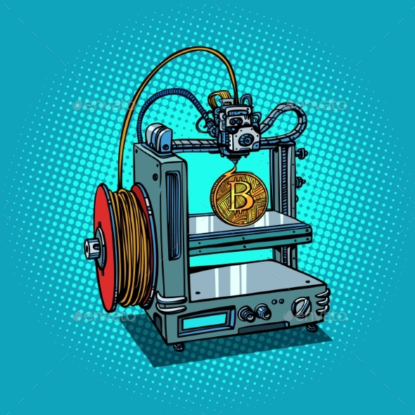 3D Printer Manufacturing Bitcoin Cryptocurrency - Business Conceptual