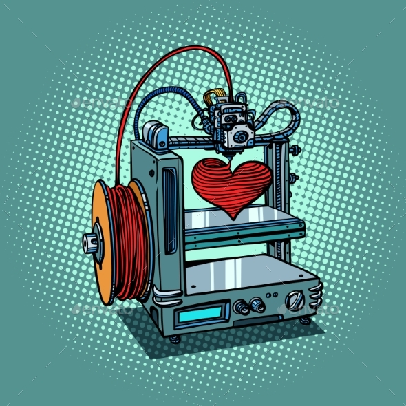 Bioprinter Prints Love Heart 3D Printer - Technology Conceptual