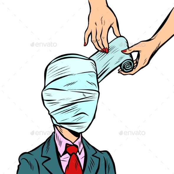 Fully Bandaged Head, Medical Trauma - Health/Medicine Conceptual