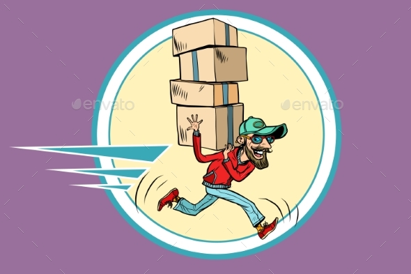 Courier Runs Delivery - Business Conceptual