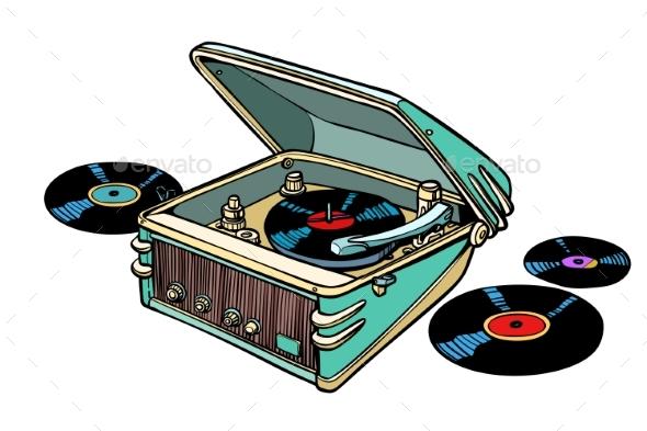 Retro Vinyl Player Isolated on White Background - Miscellaneous Vectors