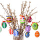 Colored easter eggs on willow bouquet with pussy willows - PhotoDune Item for Sale