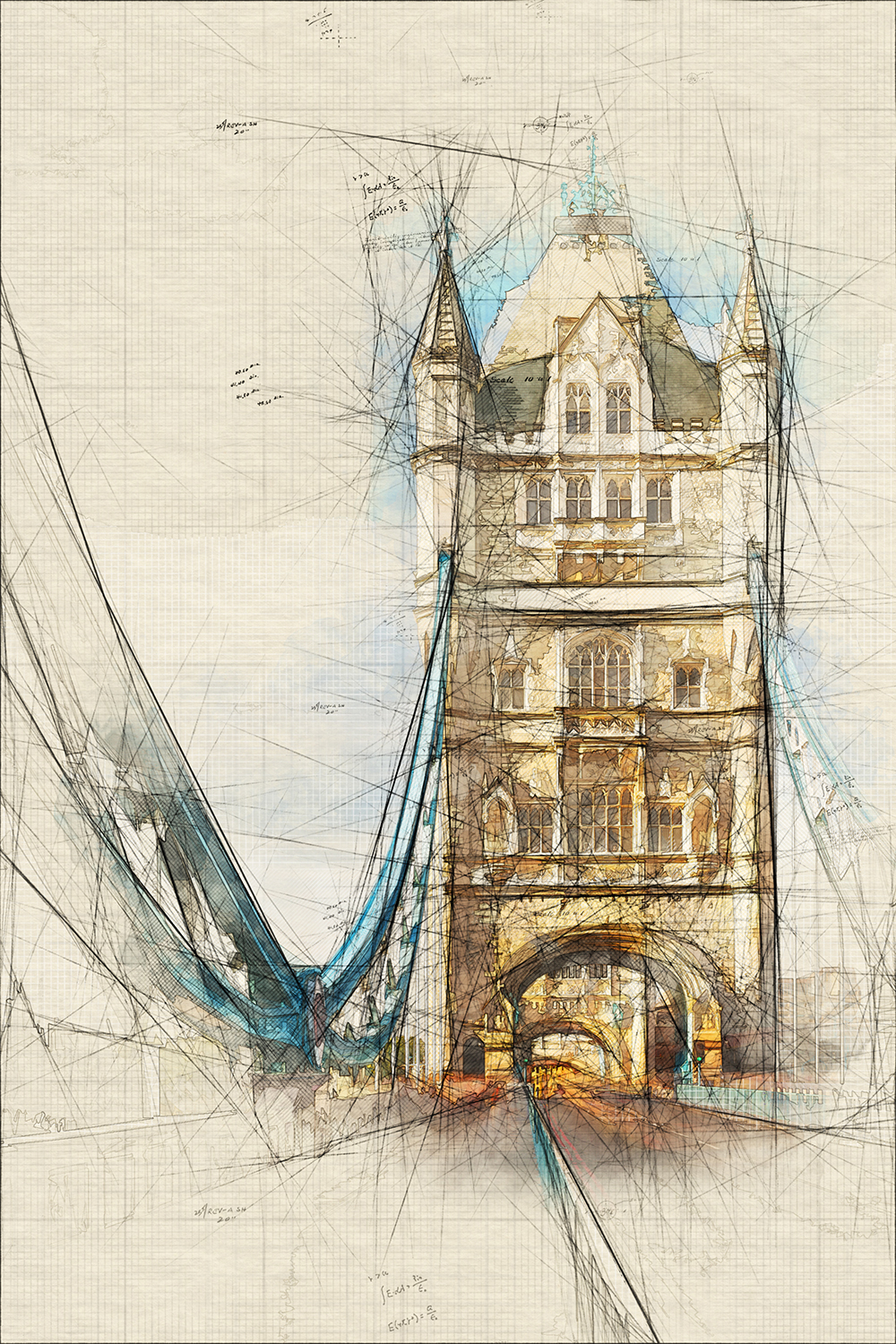 Architecture sketch and blueprint photoshop action by graycells graphic 1000pxtower bridge in london with blue sky ph7nq3mg malvernweather Images