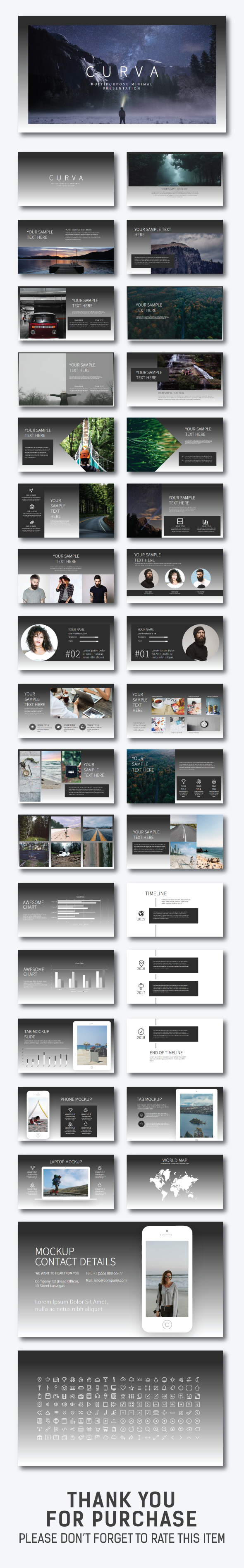 Curva Keynote Presentation - Creative Keynote Templates
