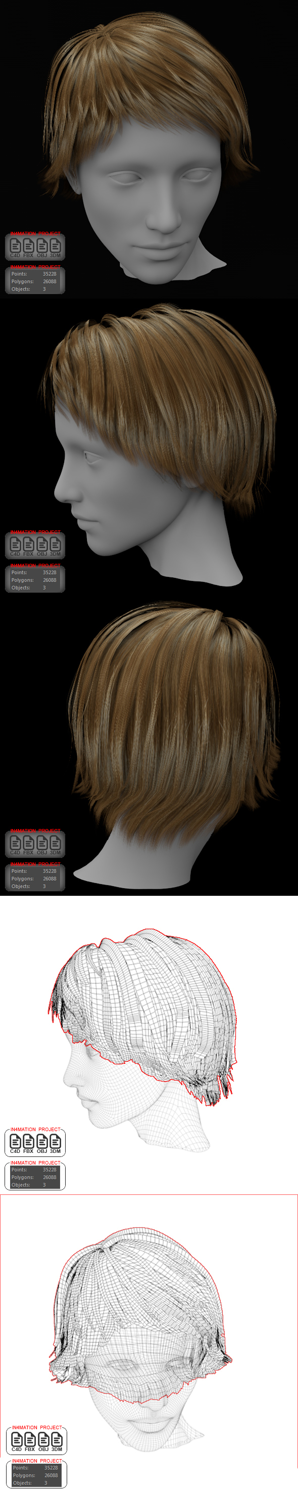 Short Hair Female 3D model - 3DOcean Item for Sale