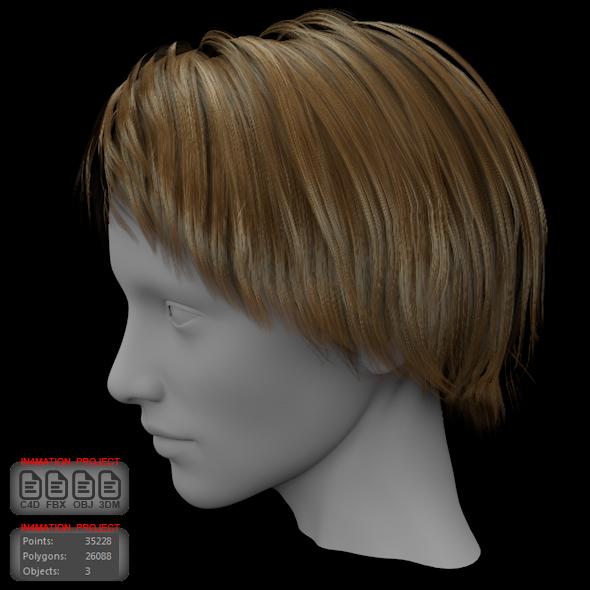 Short Hair Female 3D model