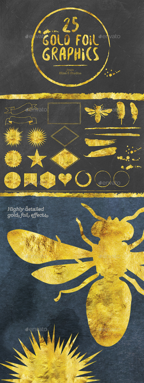25 Golden Icons - Decorative Symbols Decorative
