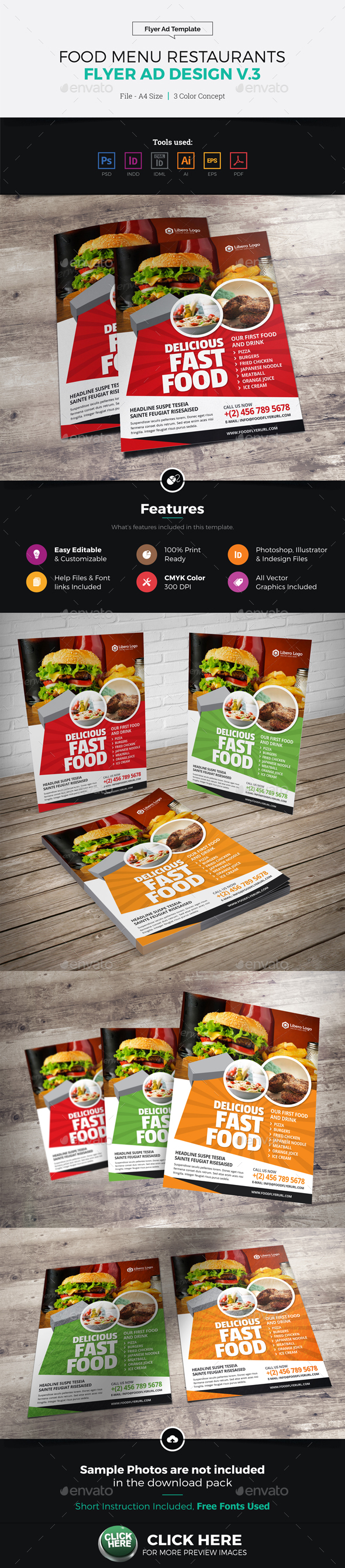 Food Menu Restaurants Flyer Ad Design v3 - Restaurant Flyers
