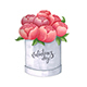 Sketch Peony in a Box - GraphicRiver Item for Sale