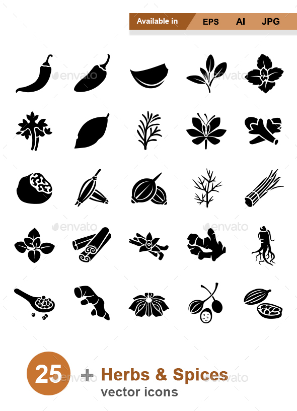 Herbs & Spices vector icons - Food Objects