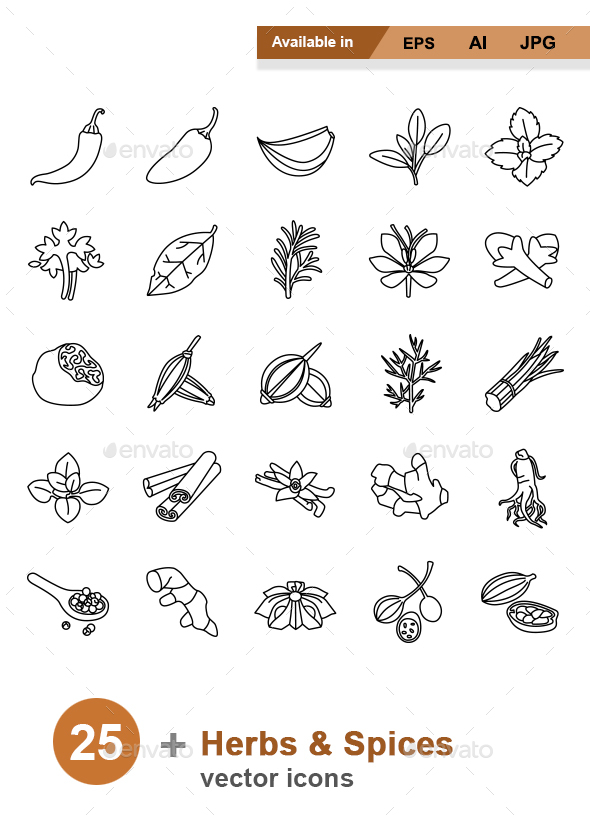 Herbs & Spices outlines vector icons - Food Objects