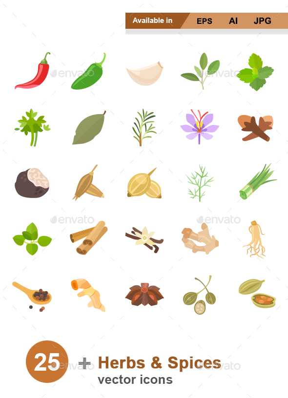 Herbs & Spices Color Vector Icons - Food Objects
