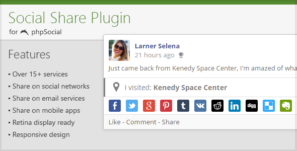 Social Share Plugin for phpSocial - CodeCanyon Item for Sale
