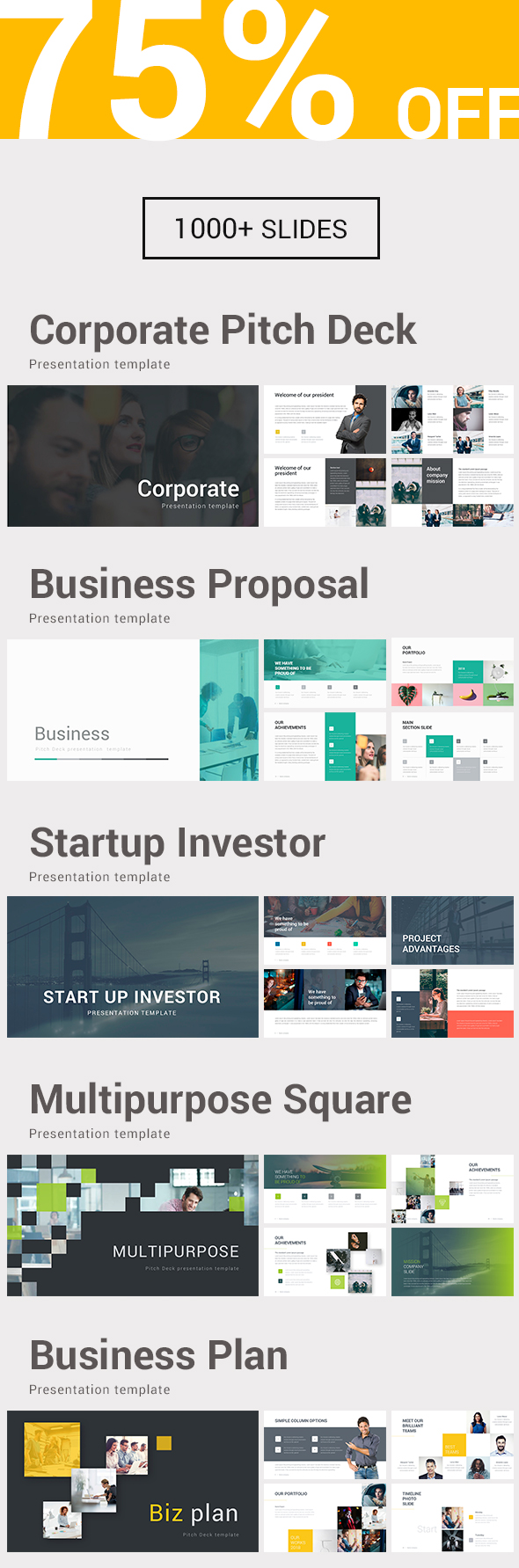 5 in 1 Bundle Powerpoint Template - Business PowerPoint Templates