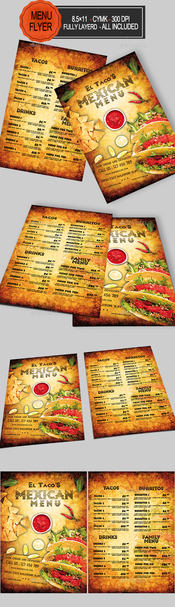 Mexican Food Menu - Food Menus Print Templates