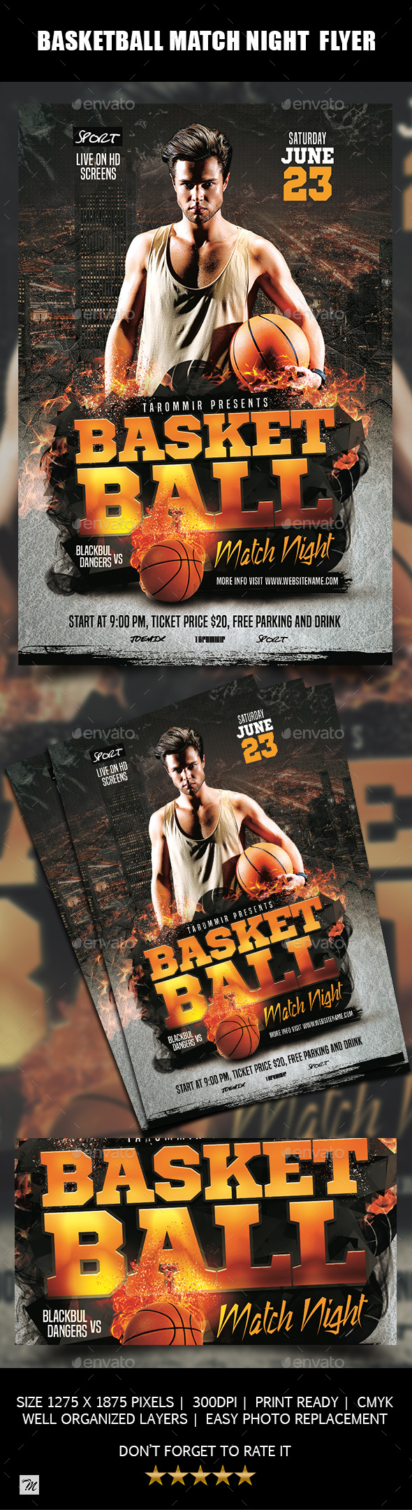 Basketball Match Night Flyer - Sports Events