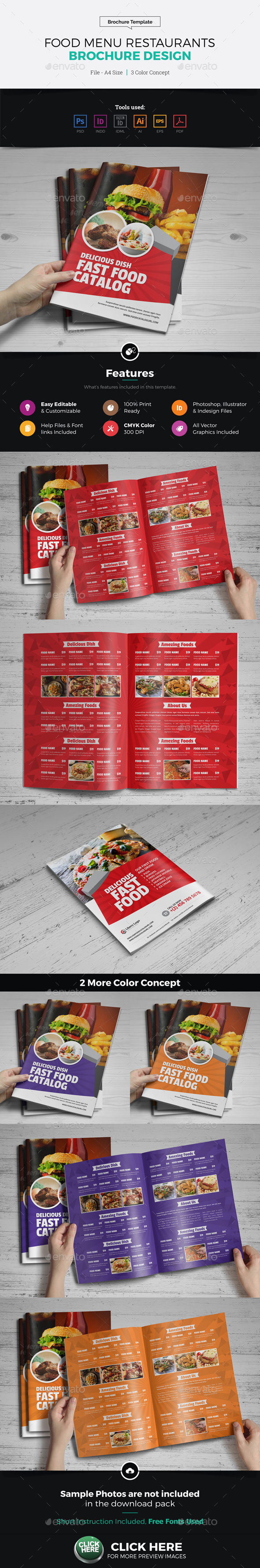 Food Menu Restaurants Brochure Design - Catalogs Brochures