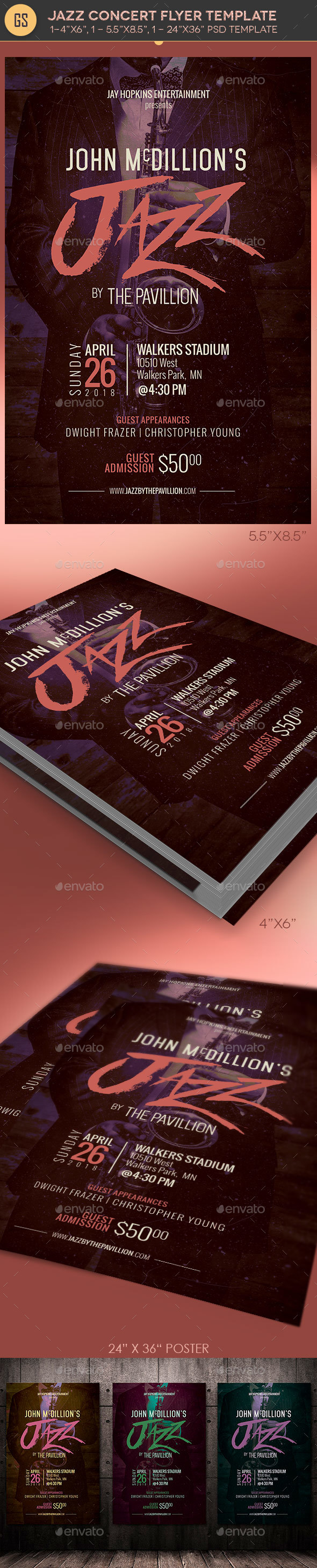 Jazz Concert Flyer Poster Template - Events Flyers